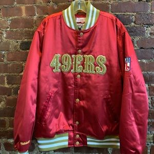 SF 49ers M&N Throwback Red and Gold Satin Large
